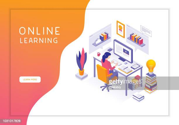 online learning - web page stock illustrations
