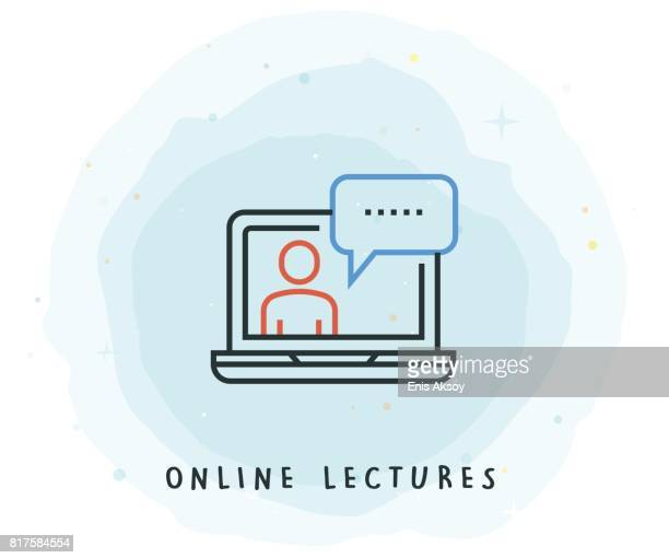 online lectures icon with watercolor patch - web conference stock illustrations