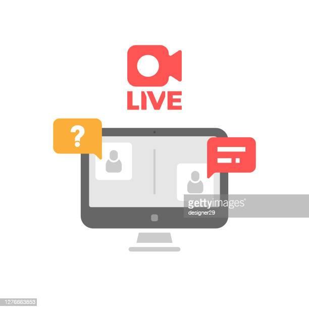 online lesson icon flat design. - live broadcast stock illustrations