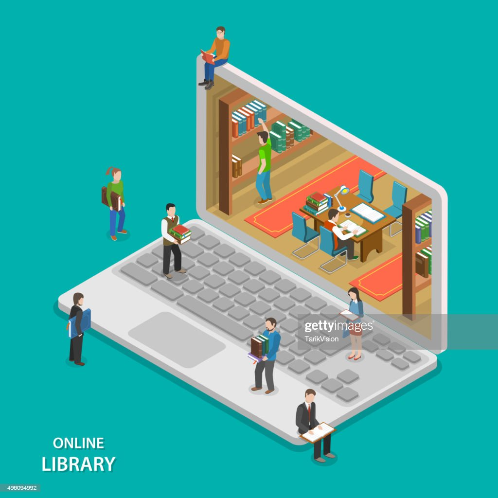 Online library flat isometric vector concept.