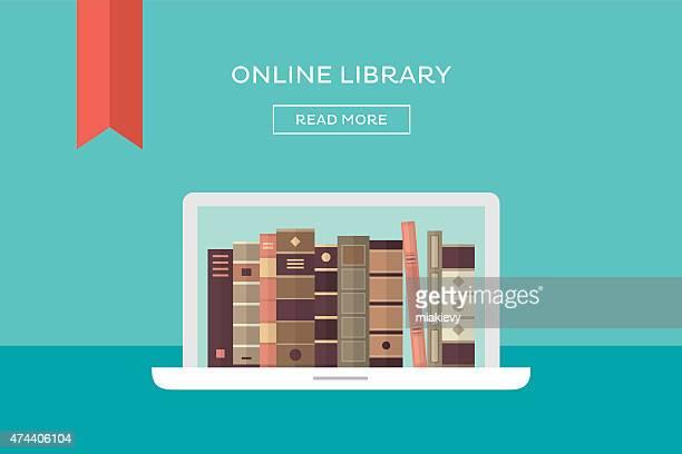 ilustrações, clipart, desenhos animados e ícones de biblioteca on-line - biblioteca