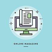 Online magazine, flat design thin line banner