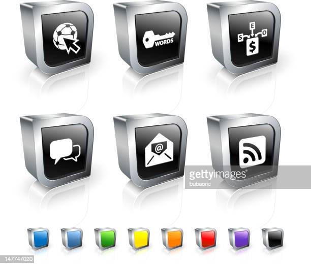online marketing 3d vector icon set with metal rim - online advertising stock illustrations, clip art, cartoons, & icons