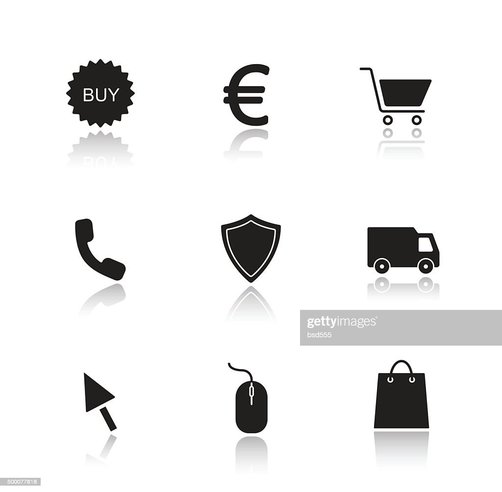 Online marketing drop shadow icons set