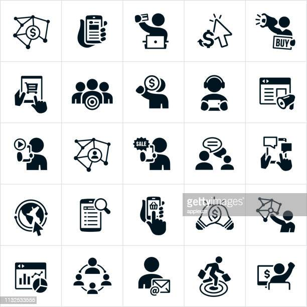 online marketing icons - online advertising stock illustrations, clip art, cartoons, & icons