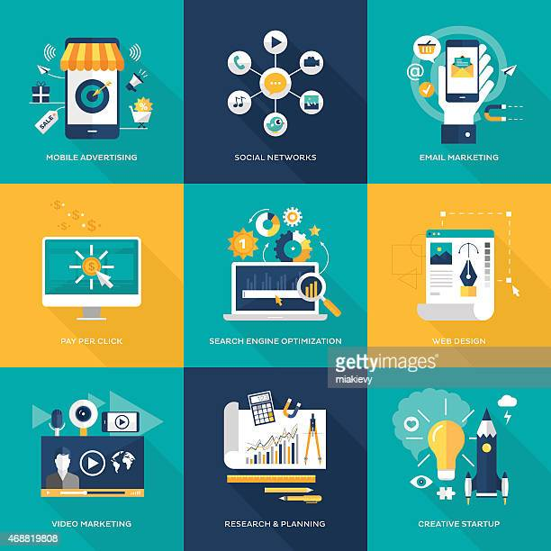 online marketing - commercial sign stock illustrations