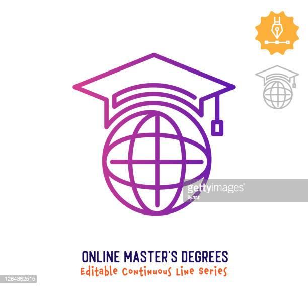 online master's degrees continuous line editable stroke icon - alumni stock illustrations