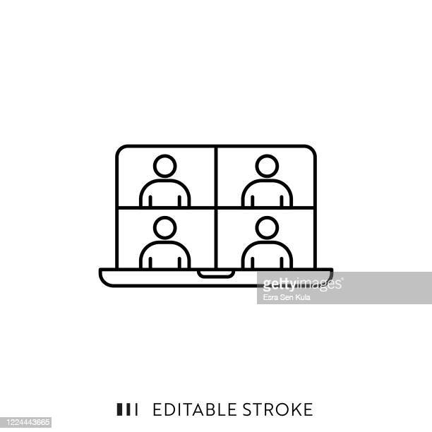 online meeting icon with editable stroke and pixel perfect. - web conference stock illustrations
