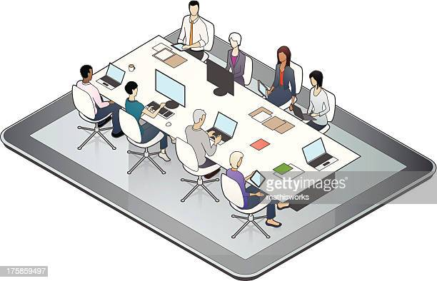 online meeting illustration - mathisworks business stock illustrations