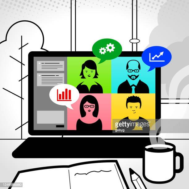 online meeting - business meeting stock illustrations