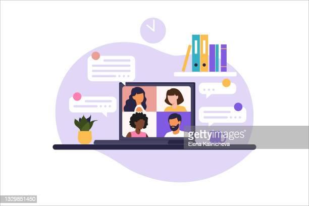 online meeting via group call people