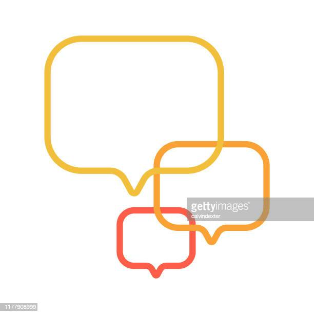 online messaging speech bubble icon design - discussion stock illustrations