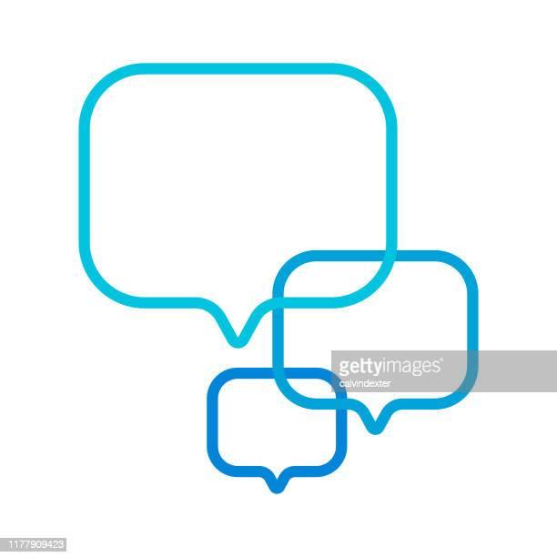 stockillustraties, clipart, cartoons en iconen met online messaging speech bubble pictogram ontwerp - contourlijn