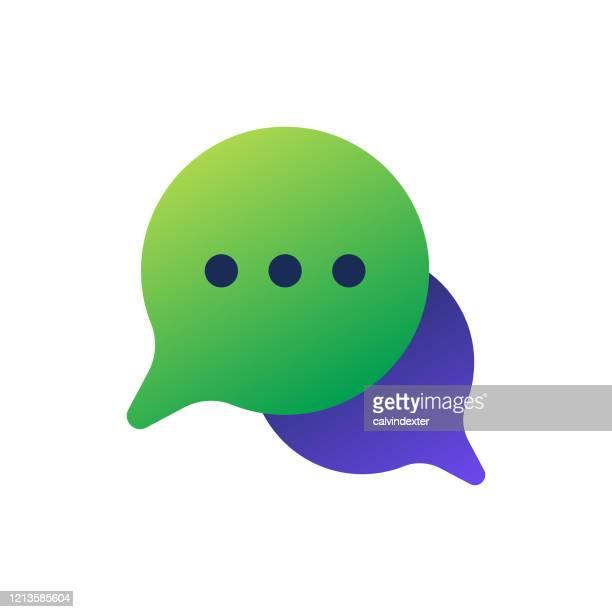 online-messaging-gedankenballons - sprechblase für internetchat stock-grafiken, -clipart, -cartoons und -symbole