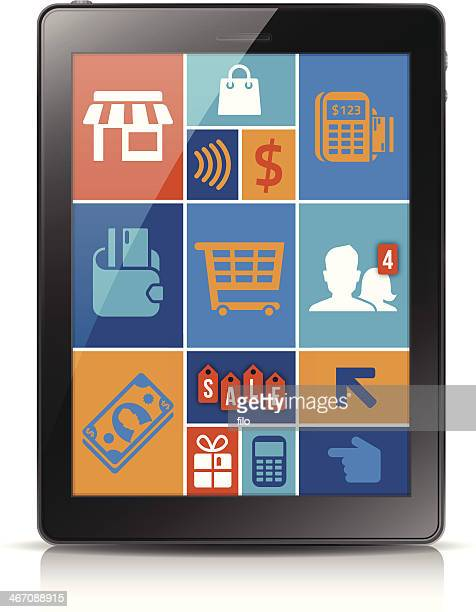 online mobile shopping - credit card reader stock illustrations, clip art, cartoons, & icons