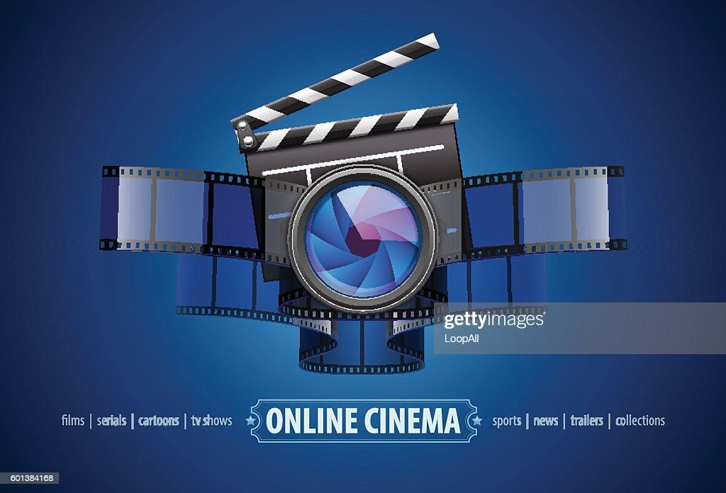 Online movie theater cinema icon design