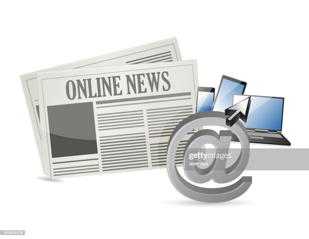 online news and electronic tools illustration design over a white background