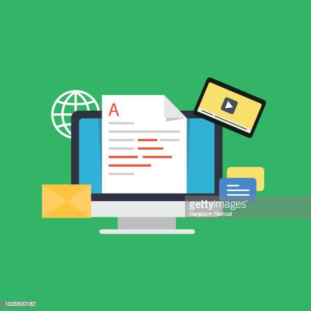 オンライン ニュース、ブログの記事やニュースのウェブサイト フラット ベクトル図の新聞。ニュース更新デジタル コンテンツ、blogging2.jpg - ソフトウェアアップデート点のイラスト素材/クリップアート素材/マンガ素材/アイコン素材