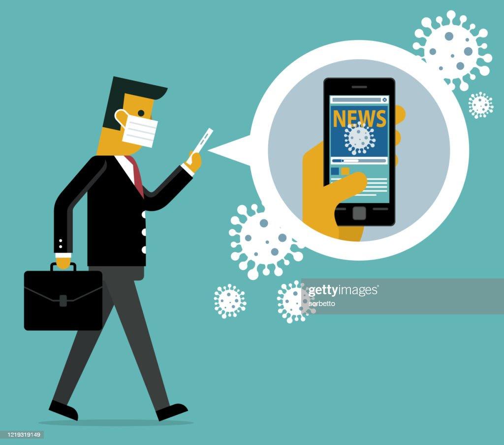 オンラインニュース - ウイルス - ビジネスマン : ストックイラストレーション