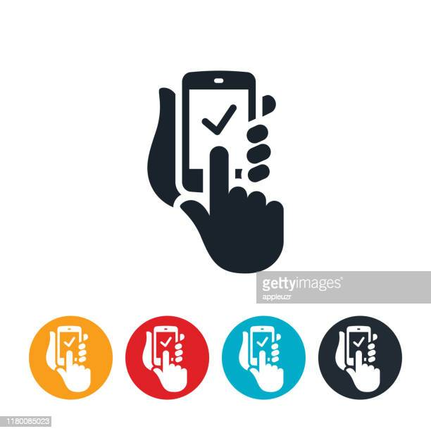 online order from smartphone icon - mobile phone stock illustrations
