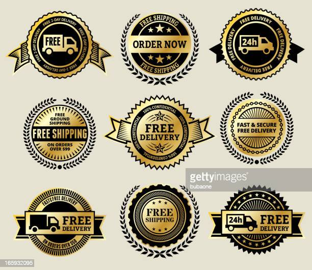 Online Order with Free Delivery gold Vector Icon badge set