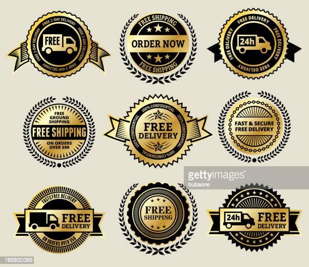 illustrazioni stock, clip art, cartoni animati e icone di tendenza di ordine online con consegna gratuita icona set di vettore badge oro - best in show