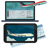 Online ordering and booking of air tickets. Vector