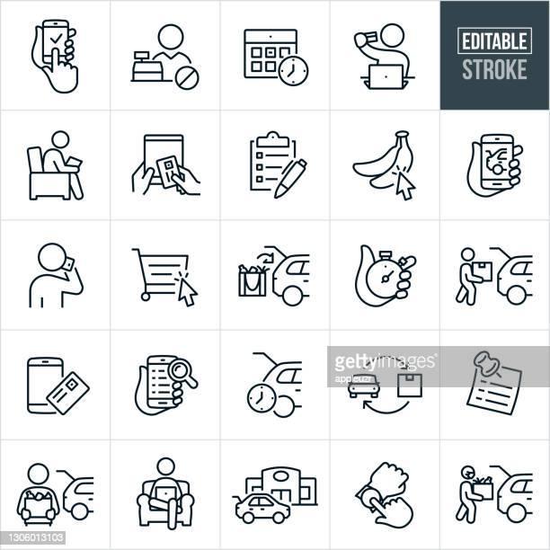 illustrazioni stock, clip art, cartoni animati e icone di tendenza di icone di linea sottile per l'ordinazione online e il ritiro sul marciapiede - tratto modificabile - commercio elettronico