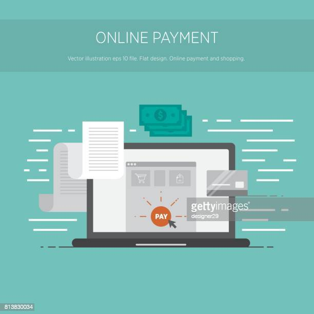 Online payment and shopping. Online digital invoice laptop with bills credit card money coins flat illustration.Vector illustration eps 10 file.
