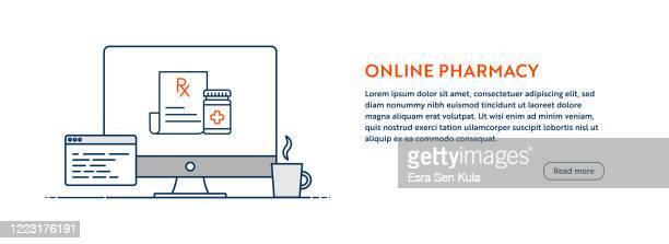 illustrazioni stock, clip art, cartoni animati e icone di tendenza di concetto di farmacia online con illustrazione del computer di linea con tratto modificabile. - farmacia