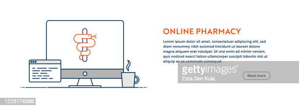 online pharmacy concept with line computer illustration with editable stroke. - medical symbol stock illustrations