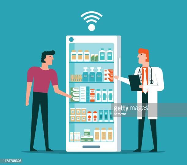illustrazioni stock, clip art, cartoni animati e icone di tendenza di farmacia online - farmacia