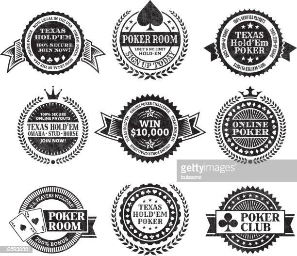 Online poker Texas Hold Em black & white icon set