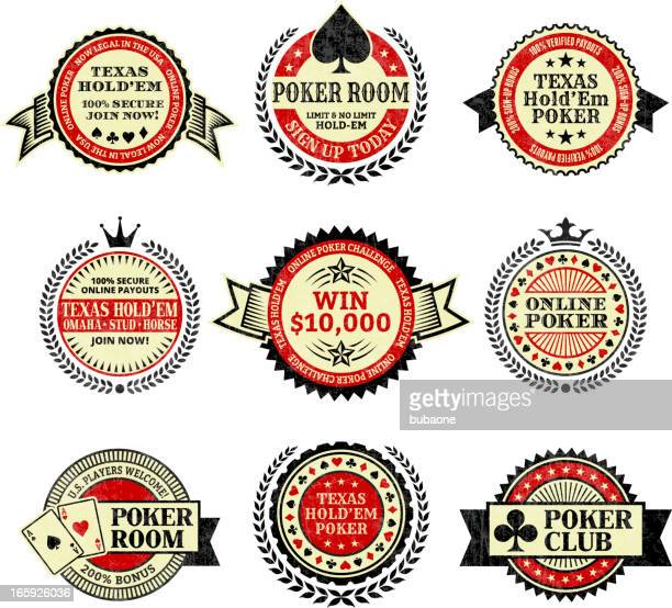 Online poker Texas Hold Em royalty free vector icon set