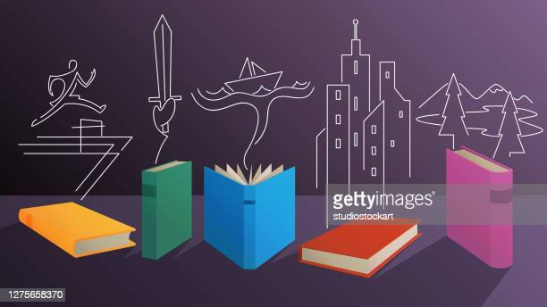 online reading and education - literature stock illustrations