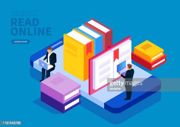 online reading and learning - library stock illustrations