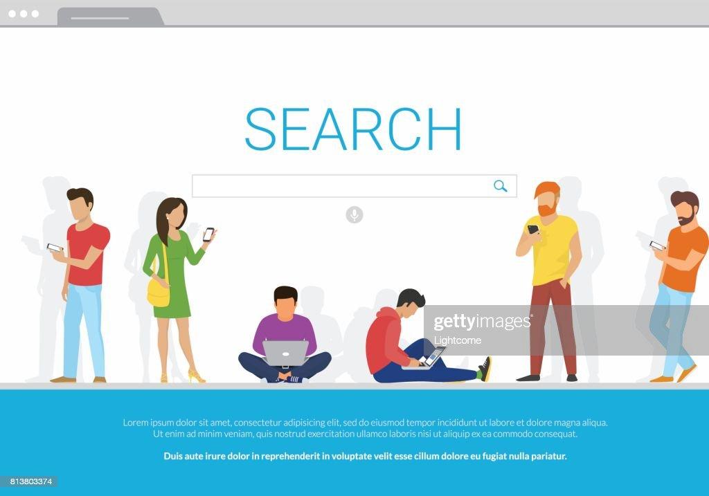 Online search bar concept vector illustration