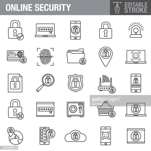 ilustrações, clipart, desenhos animados e ícones de conjunto de ícones de traçado editável de segurança on-line - sob proteção