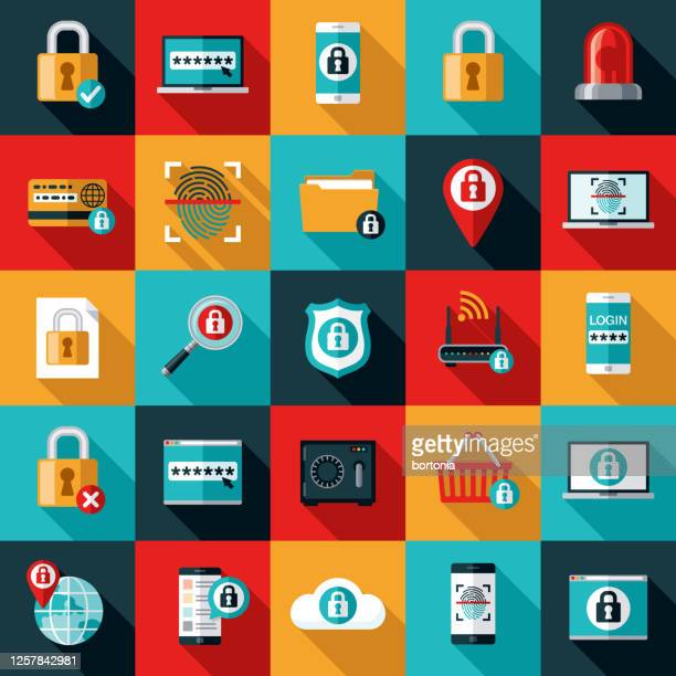 online security icon set - identity theft stock illustrations