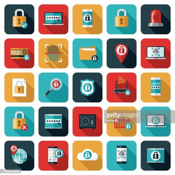 online security icon set - fingerprint scanner stock illustrations