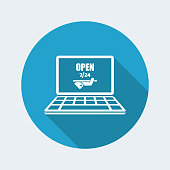 Online services open 7/24 - Vector flat icon