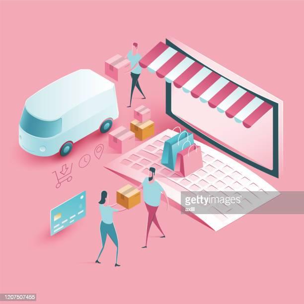 オンラインショップ配信とショッピング - アイソメトリック図 - eコマース点のイラスト素材/クリップアート素材/マンガ素材/アイコン素材