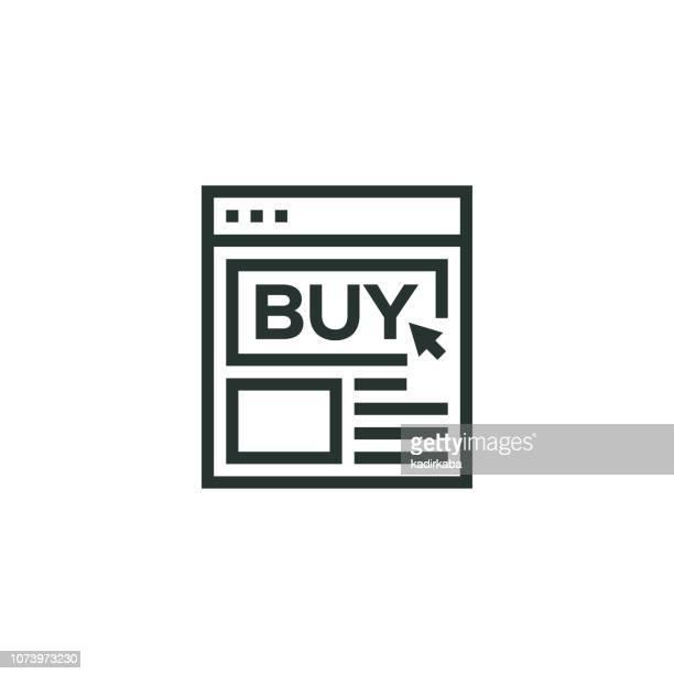 Icono de línea de una tienda en línea