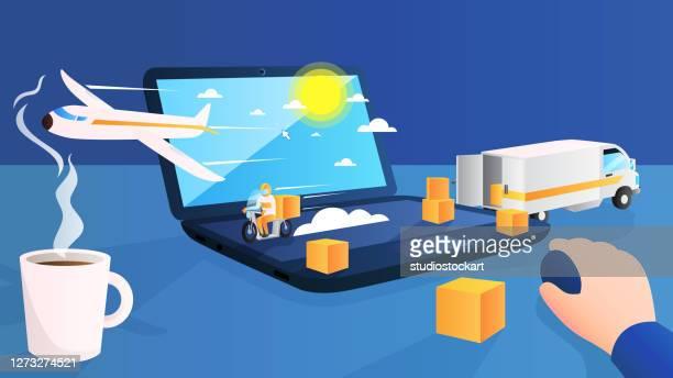 オンラインショップ物流輸送 - send点のイラスト素材/クリップアート素材/マンガ素材/アイコン素材