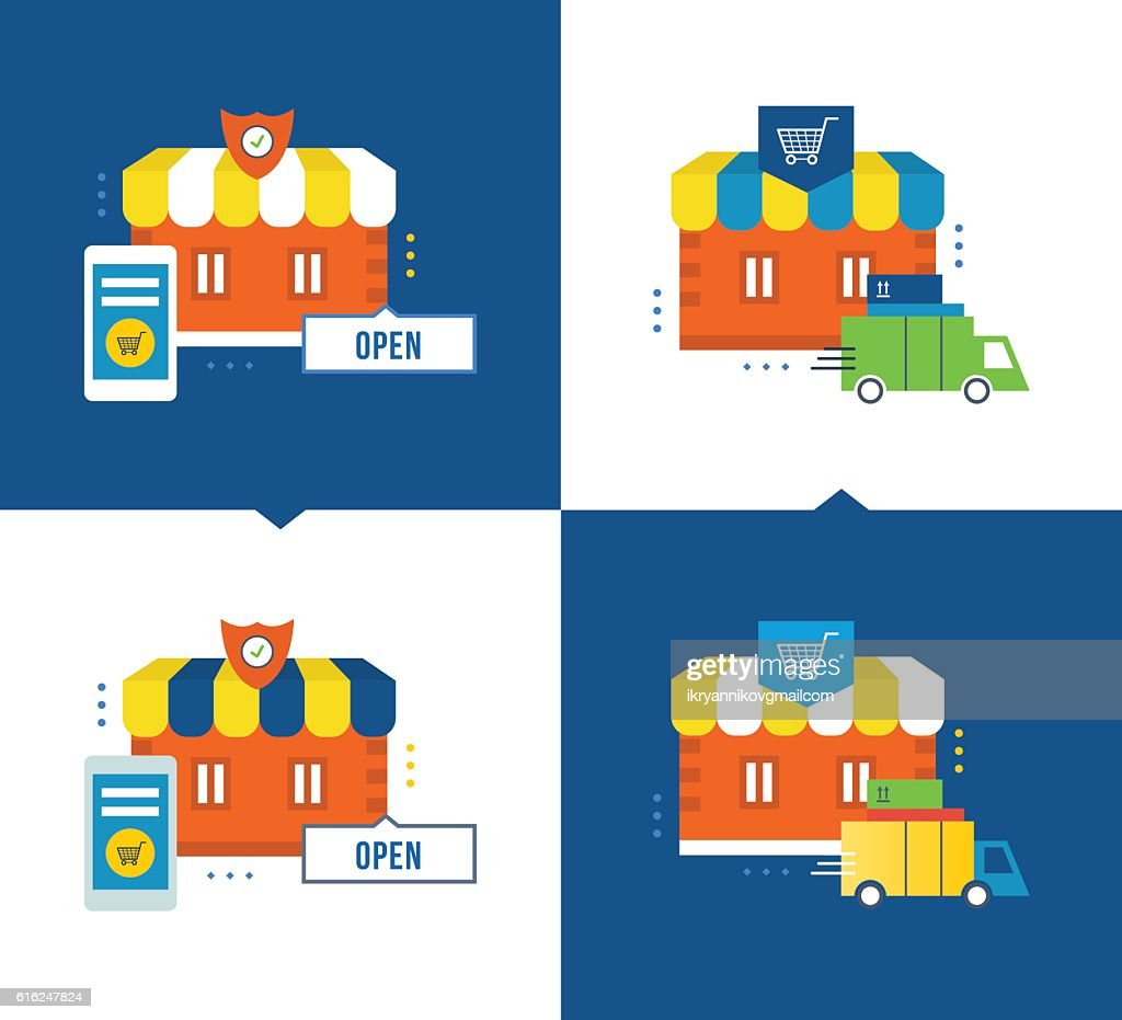 Online shopping and application process, delivery of goods, store, buying : Arte vectorial