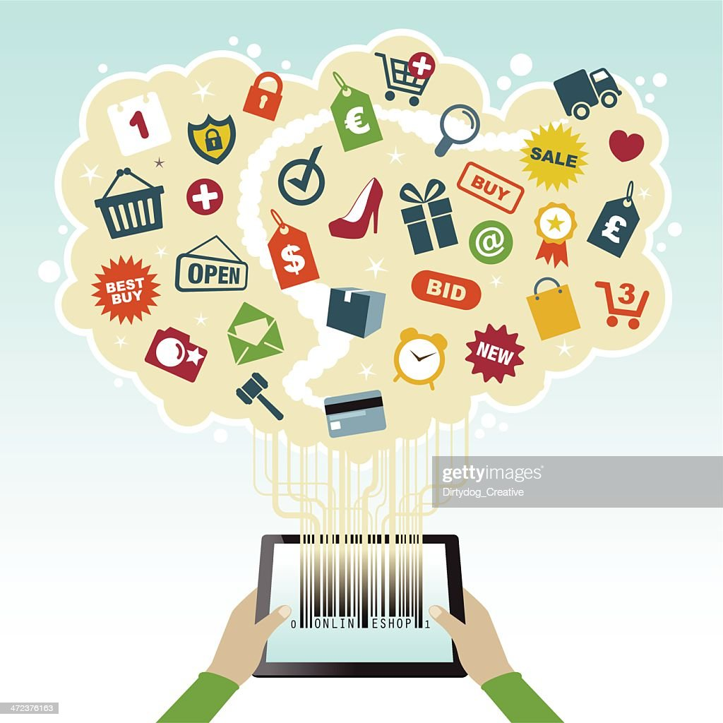 Online shopping and delivery from your tablet : stock illustration
