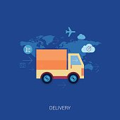 Online shopping and purchase delivery. Lorry or truck over world