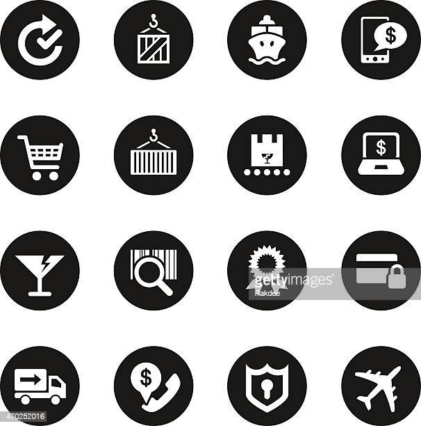 Online Shopping and Shipping Icons - Black Circle Series