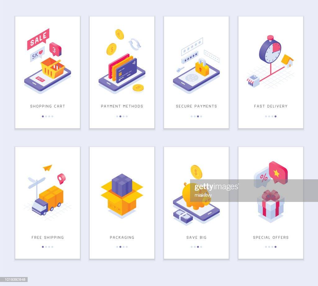 Online shopping app screens : stock illustration