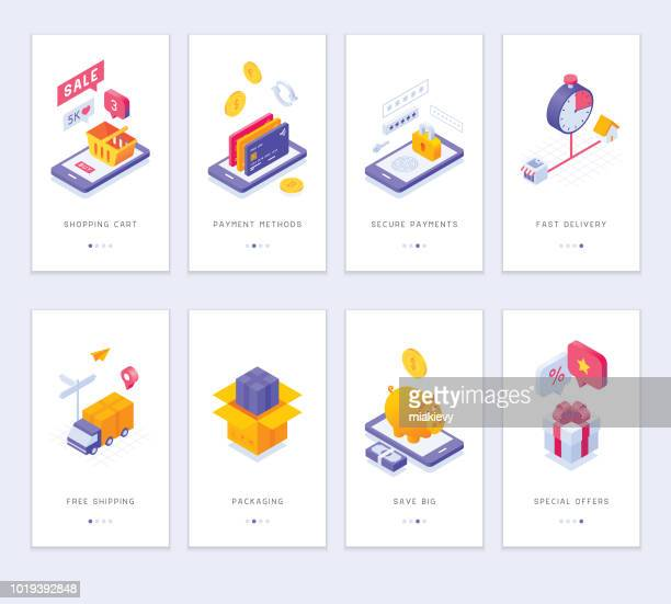 online shopping app screens - shopping cart stock illustrations
